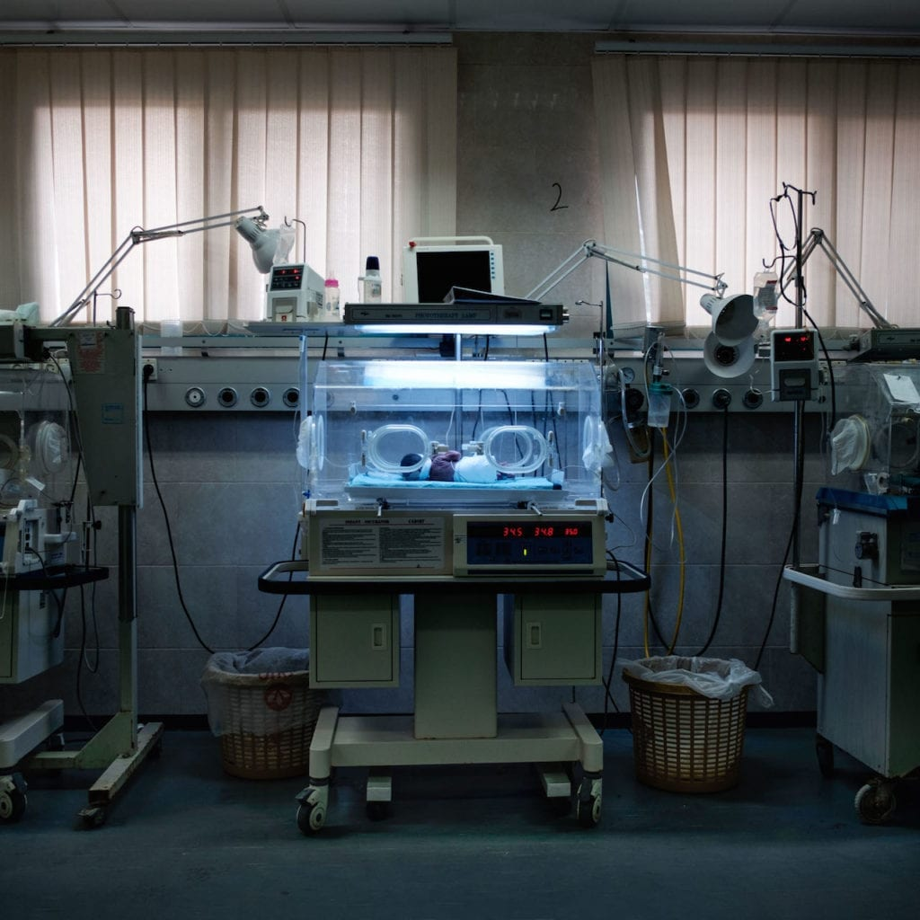 A hospital incubator in Gaza. Chances of successful treatment are very high, being, for the majority, young people and fertile. This is the story of Palestinian prisoners' wives who have turned to sperm smuggling in order to conceive children from their husbands who are serving long-term sentences. From the series Habibi © Antonio Faccilongo, which won second prize and £3000 in the Photographic Museum of Humanity 2017 Grant