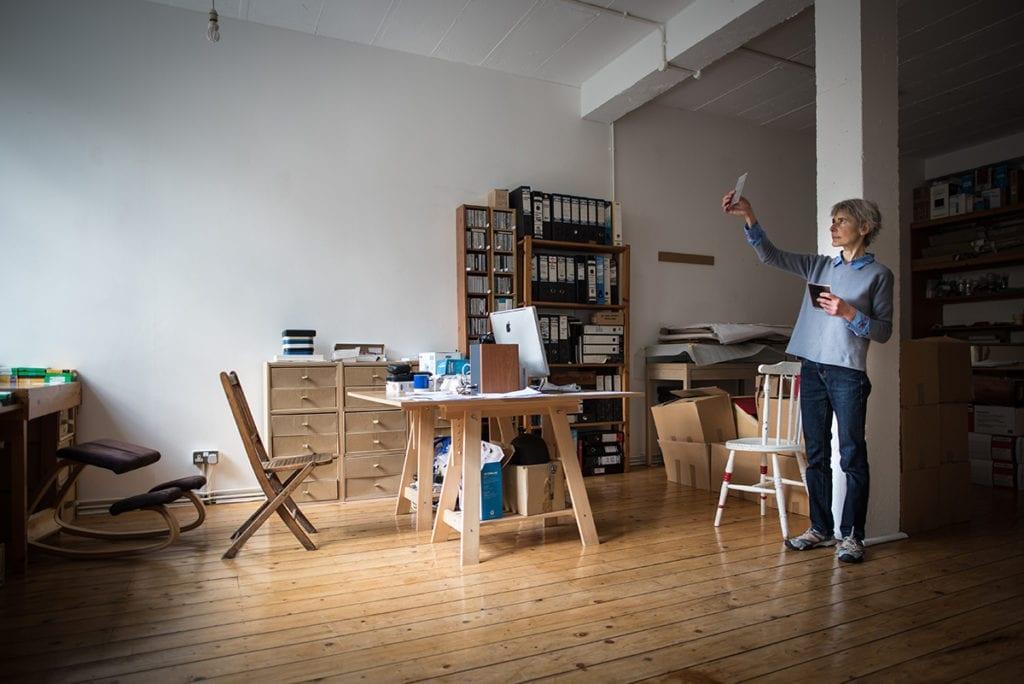 Catherine Yass in her studio. © Brian Benson 2017.