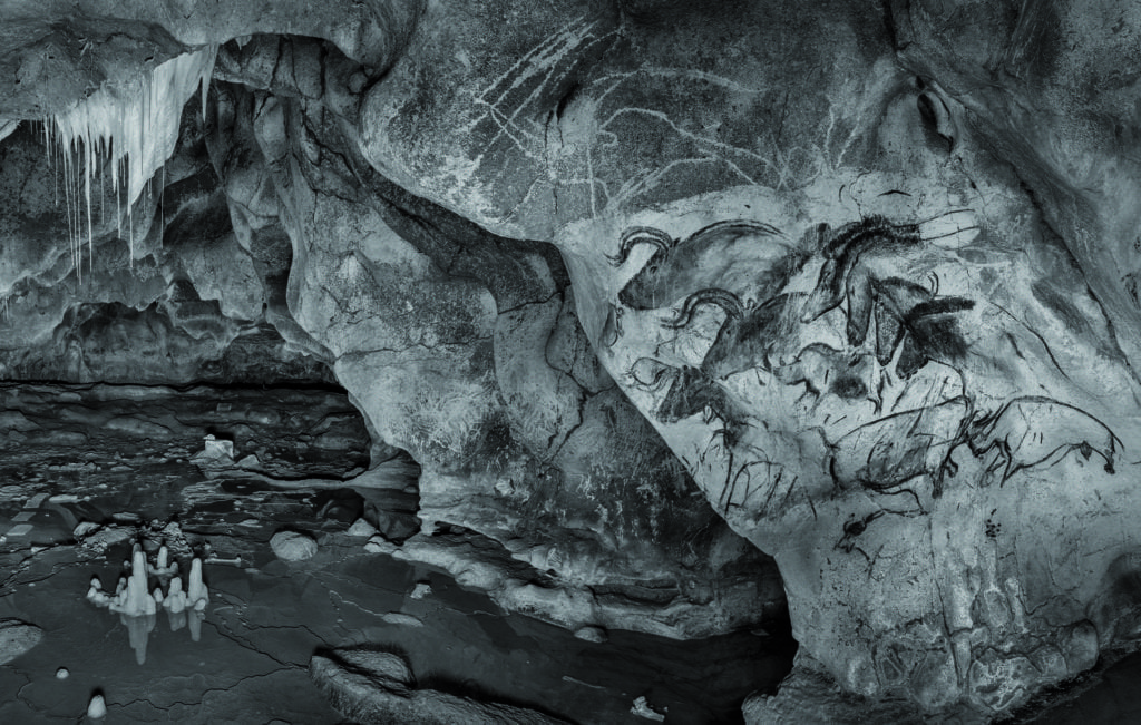 A 3D render of the prehistoric drawings at the Chauvet-Pont d'Arc Cave © Raphael Dallaporta