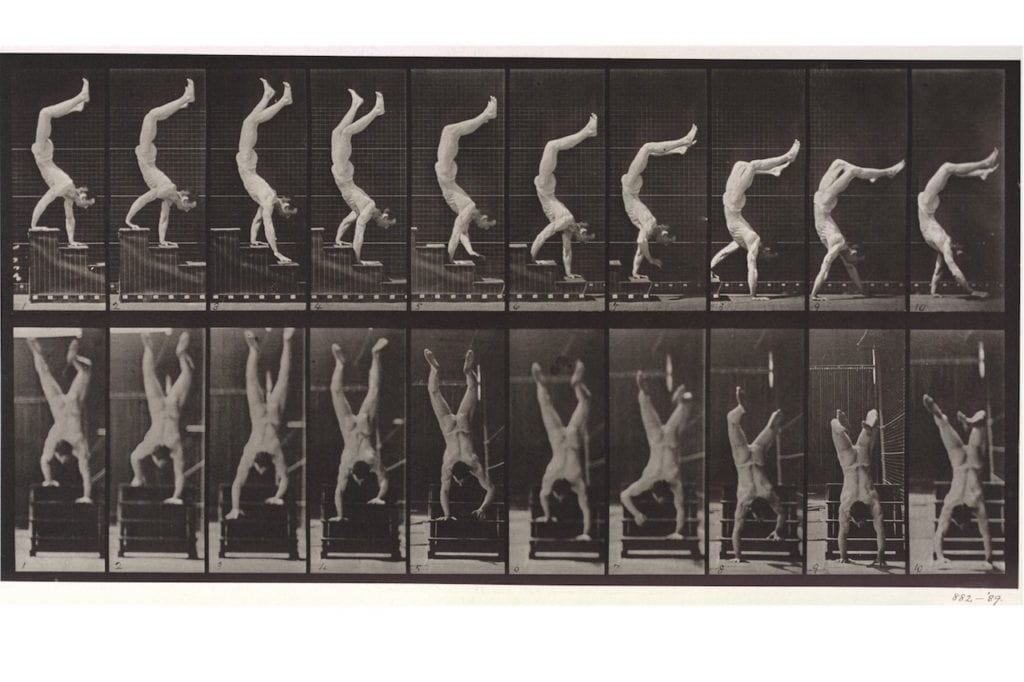 Naked man walking down a set of stairs on his hands, 1887, from Animal Locomotion by Eadweard Muybridge (1830-1904). Collotype © Victoria and Albert Museum, London