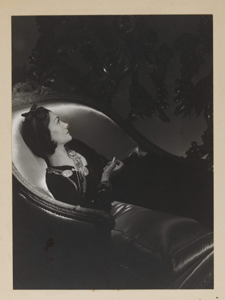 Portrait of Gabrielle ('Coco') Chanel, 1937 by Horst P. Horst (1906-1999). Gelatin silver print © The Horst Estate/Victoria and Albert Museum, London