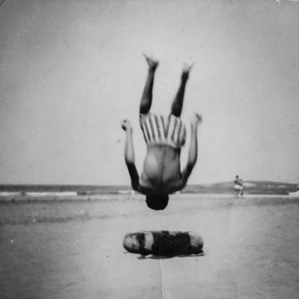 My father when he was young, jumping on the beach. Reproduction of a photograph taken from my family album. From the series Hayati © Karim El Maktafi, which won the New Generation Prize and £1000 in the Photographic Museum of Humanity 2017 Grant.