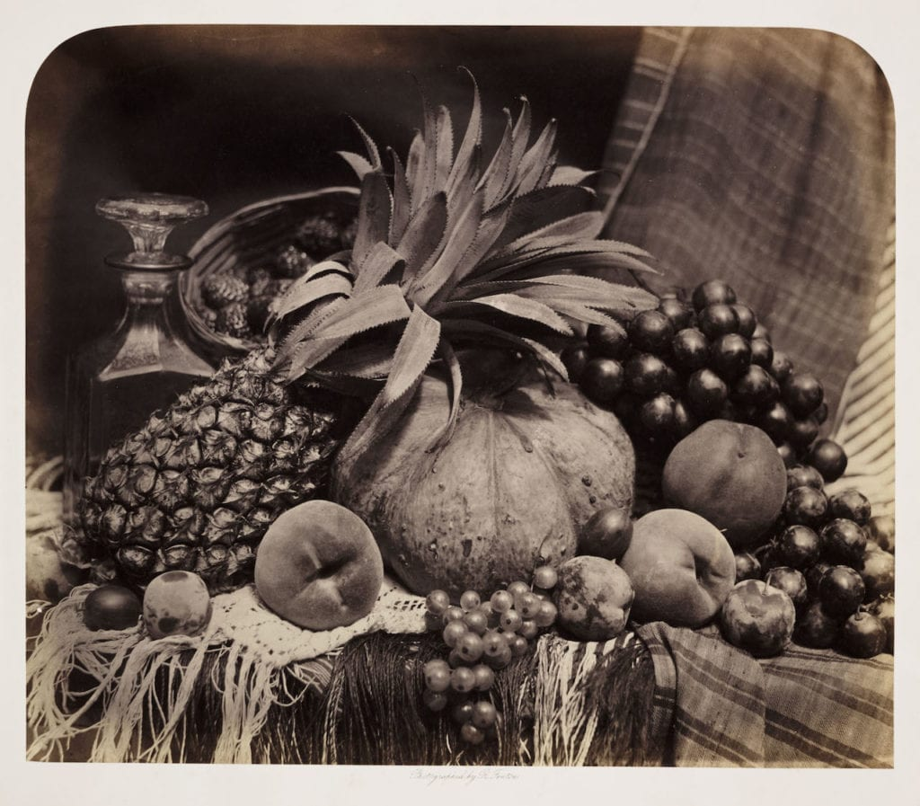 Still Life with Fruit and Decanter, 1860 by Roger Fenton (1819-69). Albumen print © The RPS Collection at the Victoria and Albert Museum, London