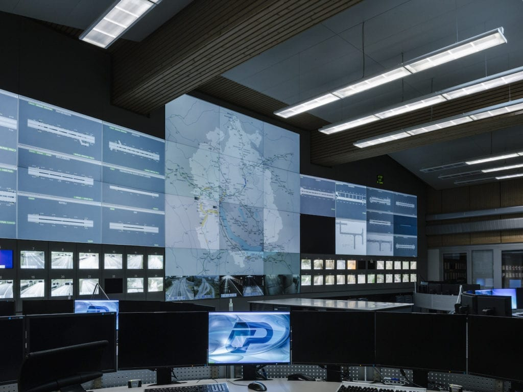 Control room at the operation center for monitoring the Swiss highway in Zürich, rescue and disaster relief, from the series 'How to secure a country' © Salvatore Vitale, courtesy of the artist