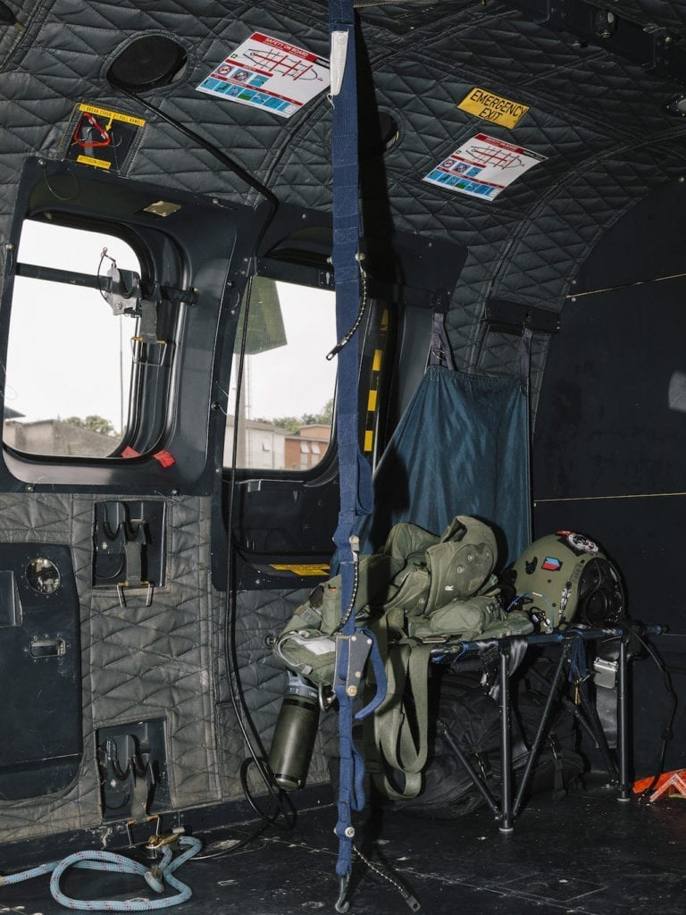 The interior of a Swiss Air Force's Super Puma Helicopter used for for liaison, rescue and disaster relief, from the series 'How to secure a country' © Salvatore Vitale, courtesy of the artist