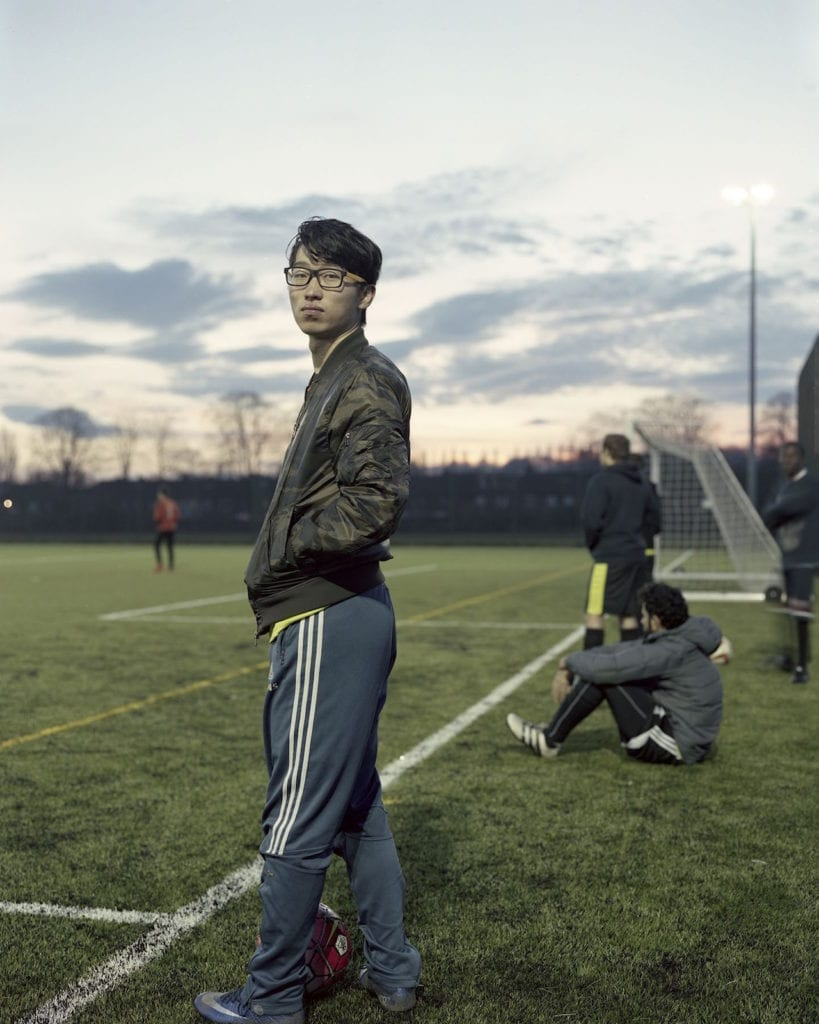 Xuan Yihao waiting as a substitute for his team: Computer Science FC at Liverpool University © Yan Wang Preston