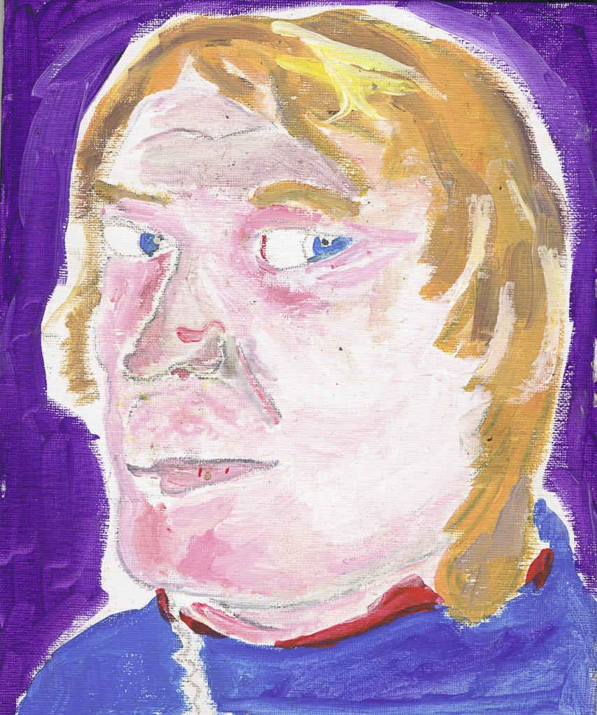 Self portrait by Justin. Justin comes from a family of artists and although he has not been taught in any formal way, he is a regular painter and enjoys it. From the series Big Brother © Louis Quail