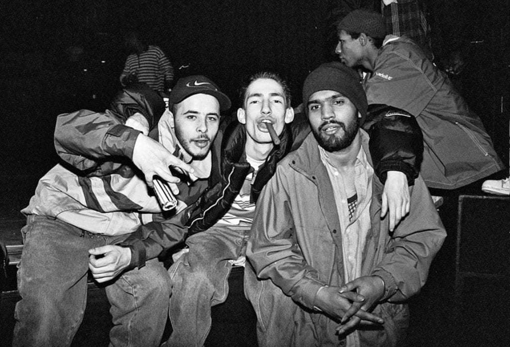 Skinny Monga, shot at the Fresh Hip Hop event of1997, which featured the UK performances by Jurassic 5 & The Invisibl Skratch Piklz alongside Grandmaster Caz (Cold Crush Brothers), Blade,DJFirst Rate (Scratch Perverts) and many other artists and B-Boys from around the world. Image © Ali Tollervey